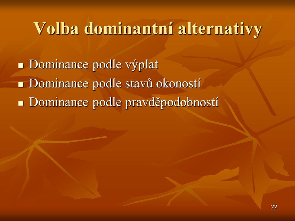 22 Volba dominantní alternativy  Dominance podle výplat  Dominance podle stavů okoností  Dominance podle pravděpodobností