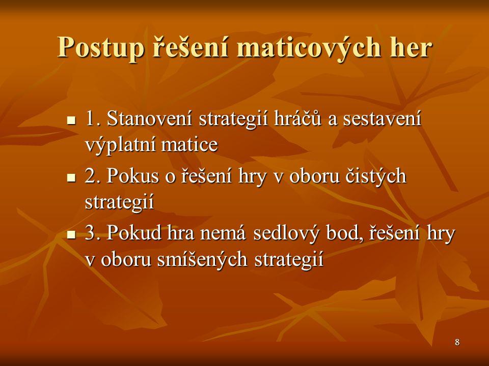 8 Postup řešení maticových her  1. Stanovení strategií hráčů a sestavení výplatní matice  2. Pokus o řešení hry v oboru čistých strategií  3. Pokud
