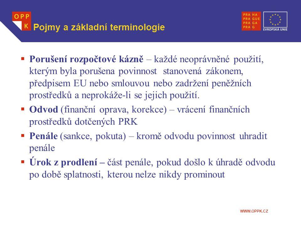 WWW.OPPK.CZ Pojmy a základní terminologie  Porušení rozpočtové kázně – každé neoprávněné použití, kterým byla porušena povinnost stanovená zákonem, p