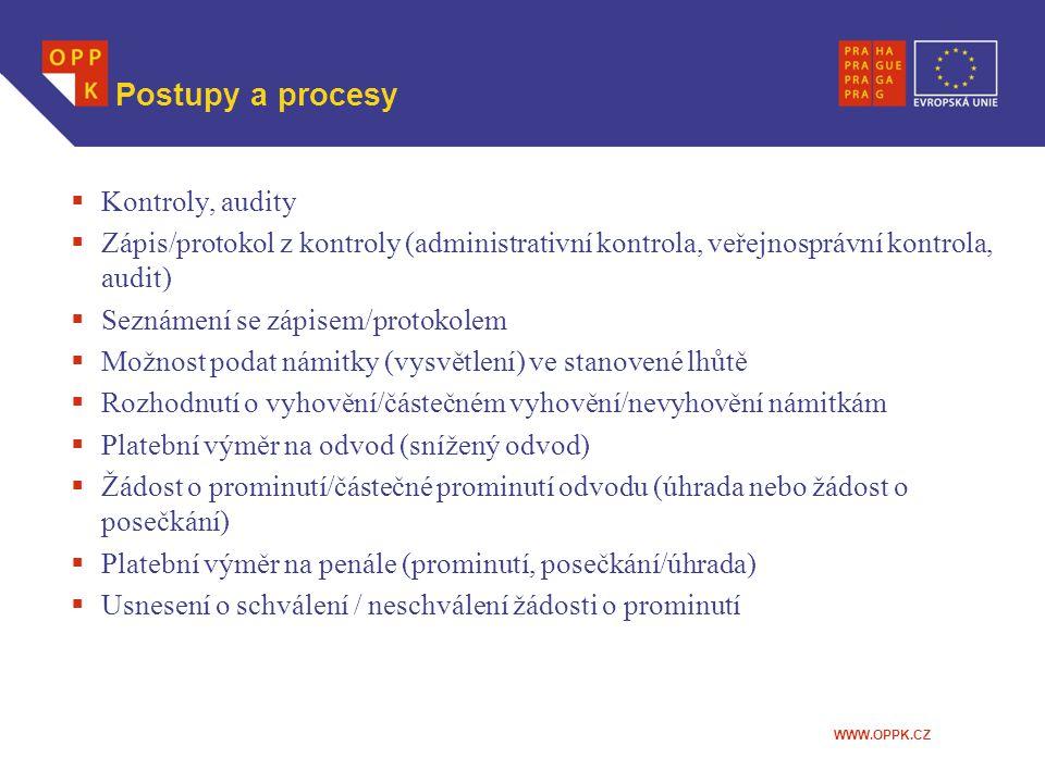 WWW.OPPK.CZ Postupy a procesy  Kontroly, audity  Zápis/protokol z kontroly (administrativní kontrola, veřejnosprávní kontrola, audit)  Seznámení se