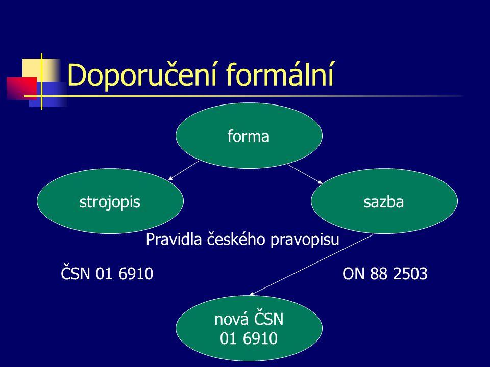 Doporučení formální forma strojopis sazba ČSN 01 6910ON 88 2503 Pravidla českého pravopisu nová ČSN 01 6910
