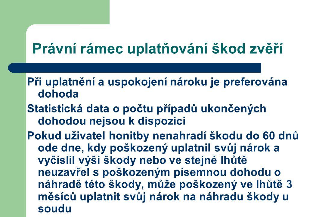 Právní rámec uplatňování škod zvěří Při uplatnění a uspokojení nároku je preferována dohoda Statistická data o počtu případů ukončených dohodou nejsou
