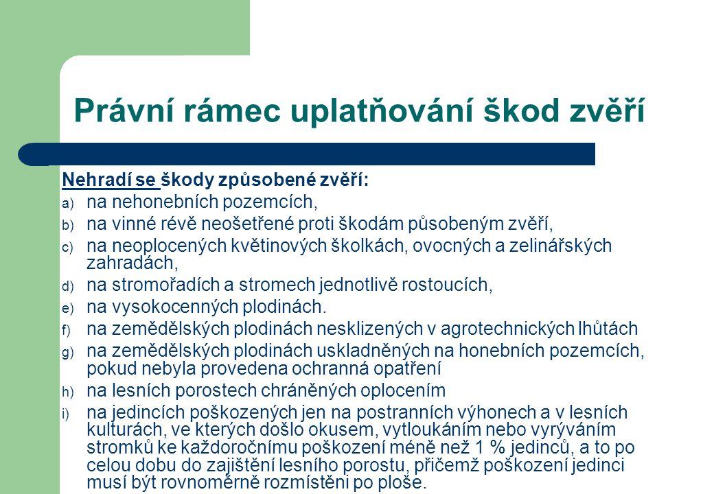 Právní rámec uplatňování škod zvěří Nehradí se škody způsobené zvěří: a) na nehonebních pozemcích, b) na vinné révě neošetřené proti škodám působeným
