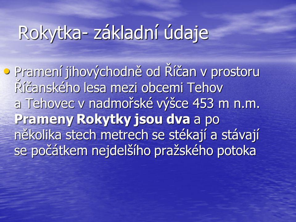 Rokytka- základní údaje • Pramení jihovýchodně od Říčan v prostoru Říčanského lesa mezi obcemi Tehov a Tehovec v nadmořské výšce 453 m n.m.