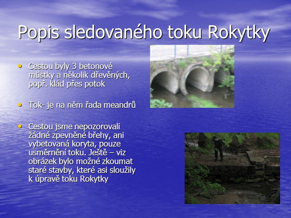 Popis sledovaného toku Rokytky • Cestou byly 3 betonové můstky a několik dřevěných, popř.