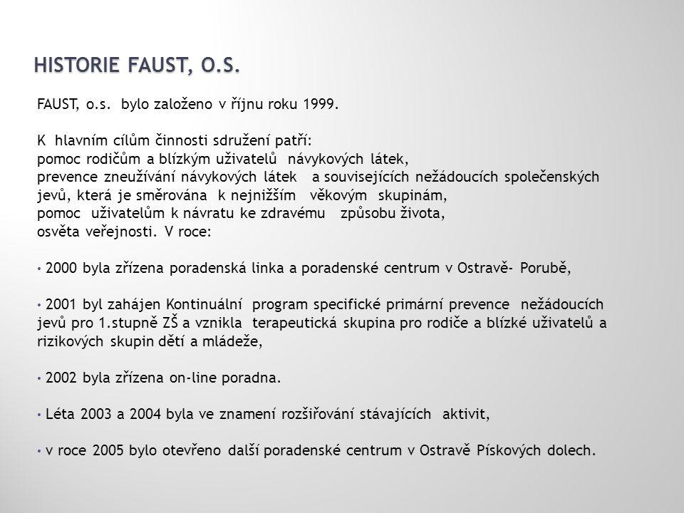 HISTORIE FAUST, O.S. FAUST, o.s. bylo založeno v říjnu roku 1999. K hlavním cílům činnosti sdružení patří: pomoc rodičům a blízkým uživatelů návykovýc