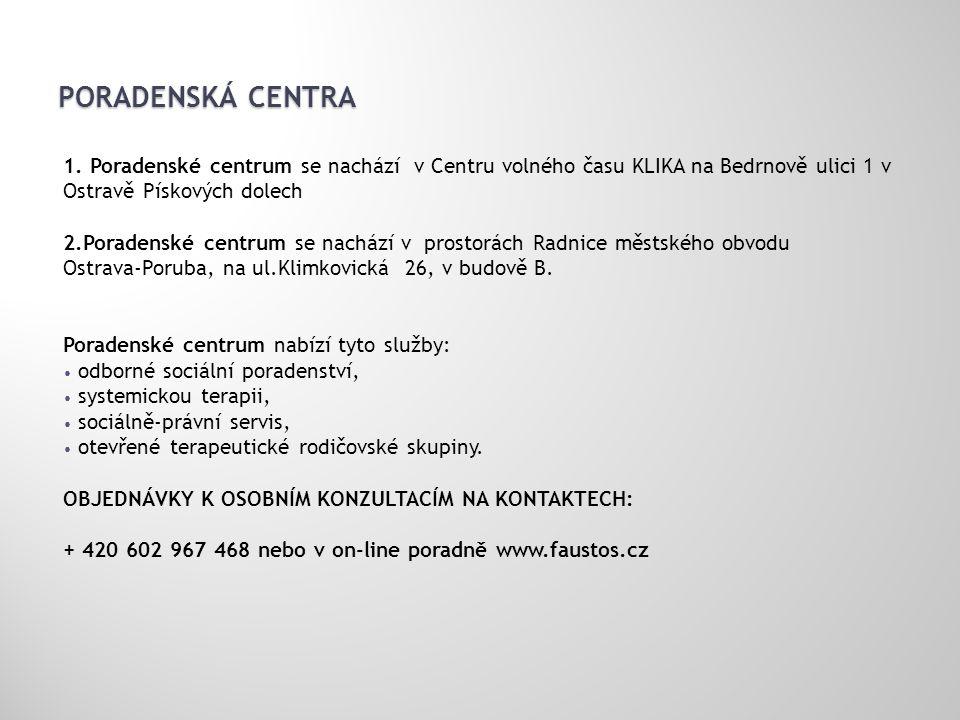 PORADENSKÁ CENTRA 1. Poradenské centrum se nachází v Centru volného času KLIKA na Bedrnově ulici 1 v Ostravě Pískových dolech 2.Poradenské centrum se