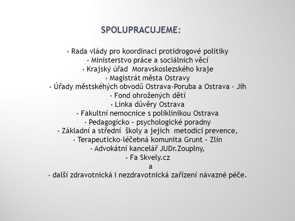 SPOLUPRACUJEME: • Rada vlády pro koordinaci protidrogové politiky • Ministerstvo práce a sociálních věcí • Krajský úřad Moravskoslezského kraje • Magi
