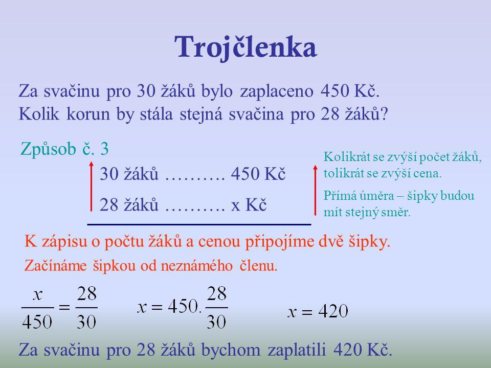 Troj č lenka Za svačinu pro 30 žáků bylo zaplaceno 450 Kč. Kolik korun by stála stejná svačina pro 28 žáků? Způsob č. 3 30 žáků ………. 450 Kč 28 žáků ……