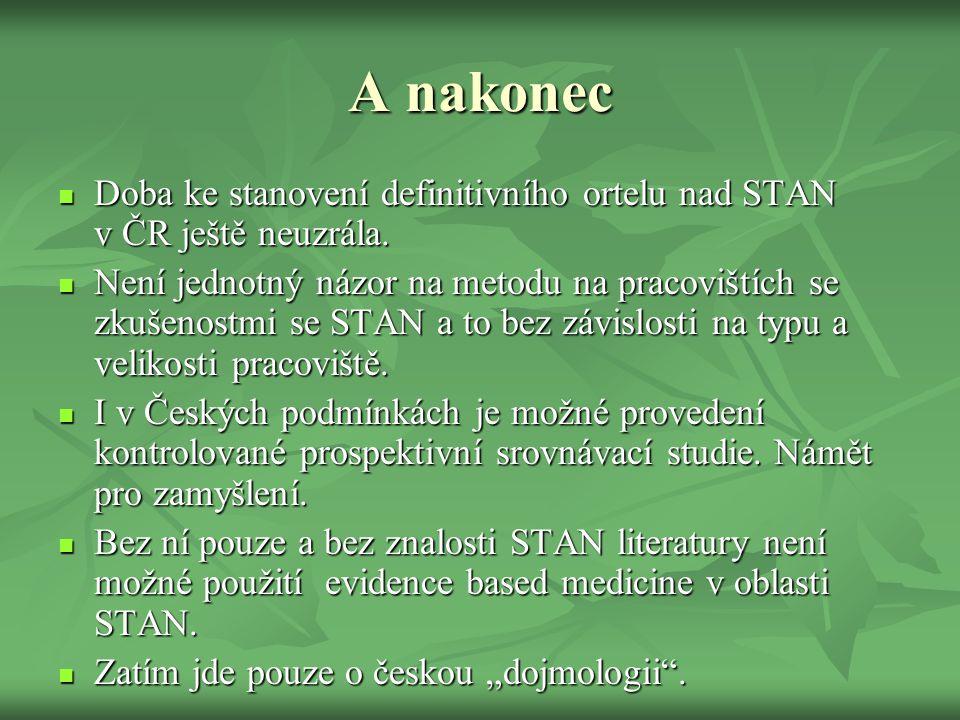 A nakonec  Doba ke stanovení definitivního ortelu nad STAN v ČR ještě neuzrála.  Není jednotný názor na metodu na pracovištích se zkušenostmi se STA