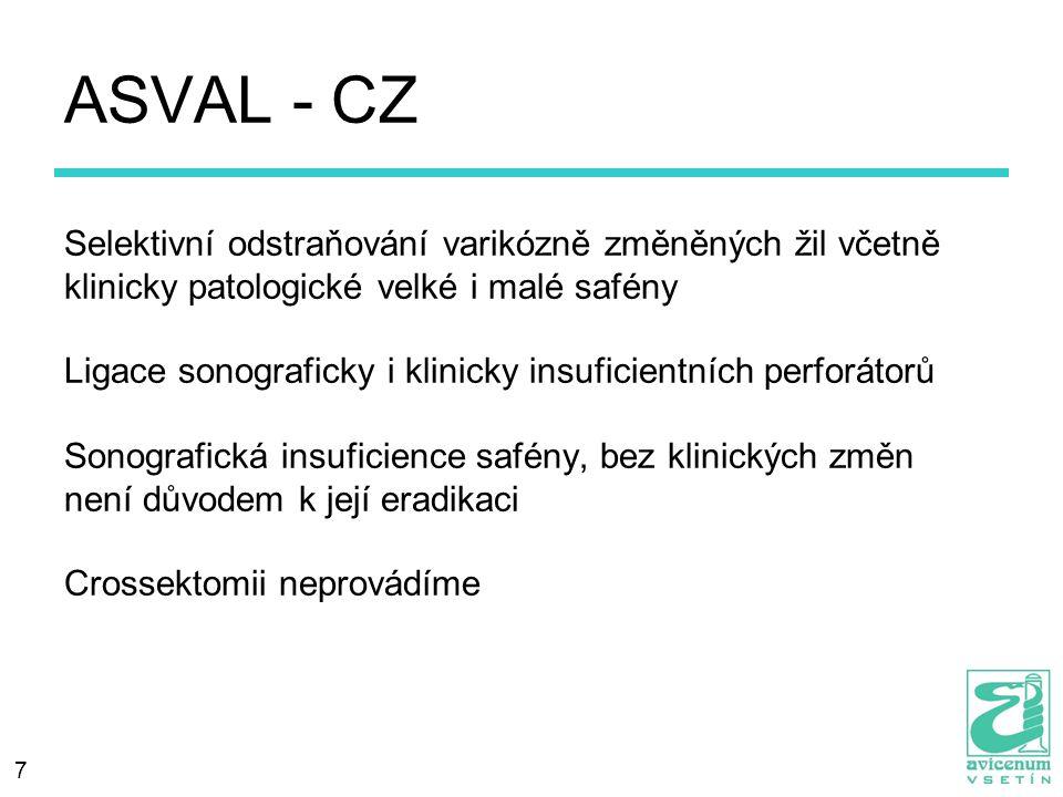 7 ASVAL - CZ Selektivní odstraňování varikózně změněných žil včetně klinicky patologické velké i malé safény Ligace sonograficky i klinicky insuficien