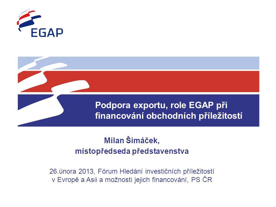 Podpora exportu, role EGAP při financování obchodních příležitostí Milan Šimáček, místopředseda představenstva 26.února 2013, Fórum Hledání investiční