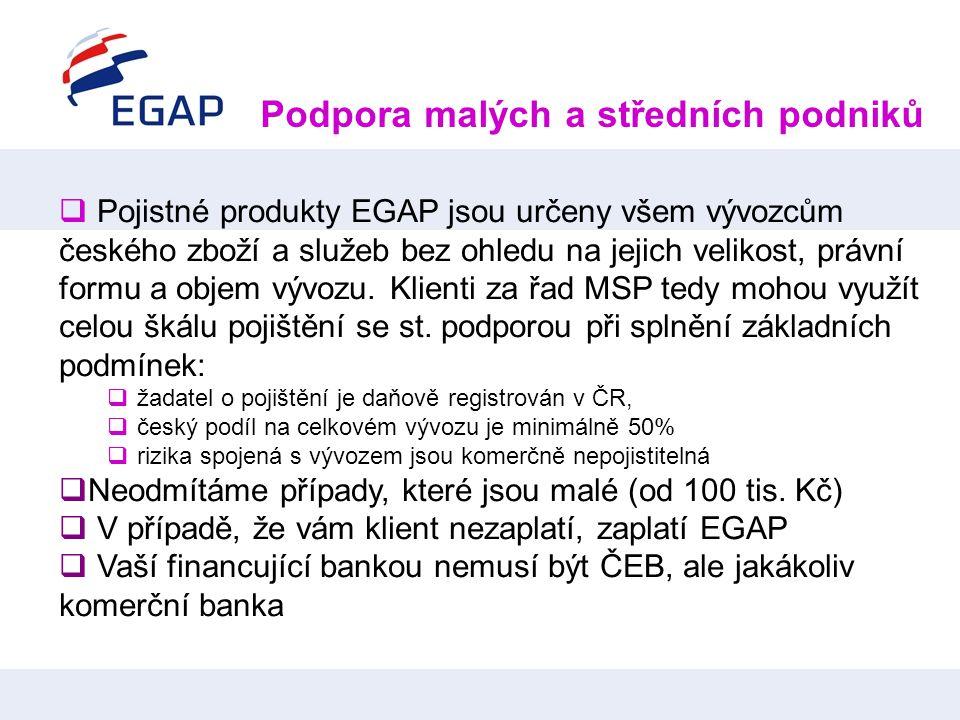  Pojistné produkty EGAP jsou určeny všem vývozcům českého zboží a služeb bez ohledu na jejich velikost, právní formu a objem vývozu. Klienti za řad M