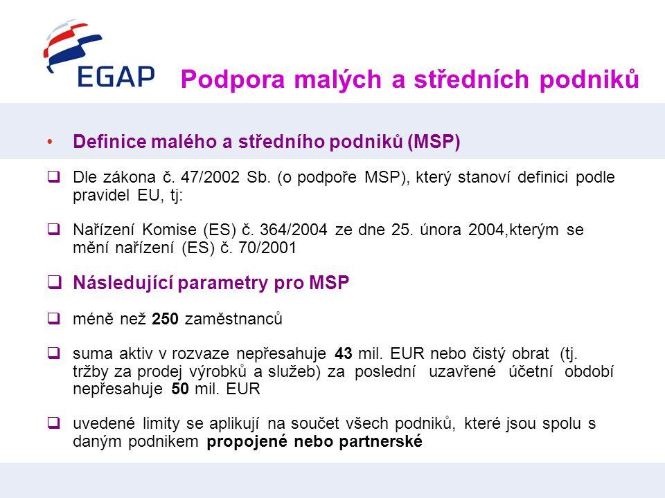 •Definice malého a středního podniků (MSP)  Dle zákona č. 47/2002 Sb. (o podpoře MSP), který stanoví definici podle pravidel EU, tj:  Nařízení Komis