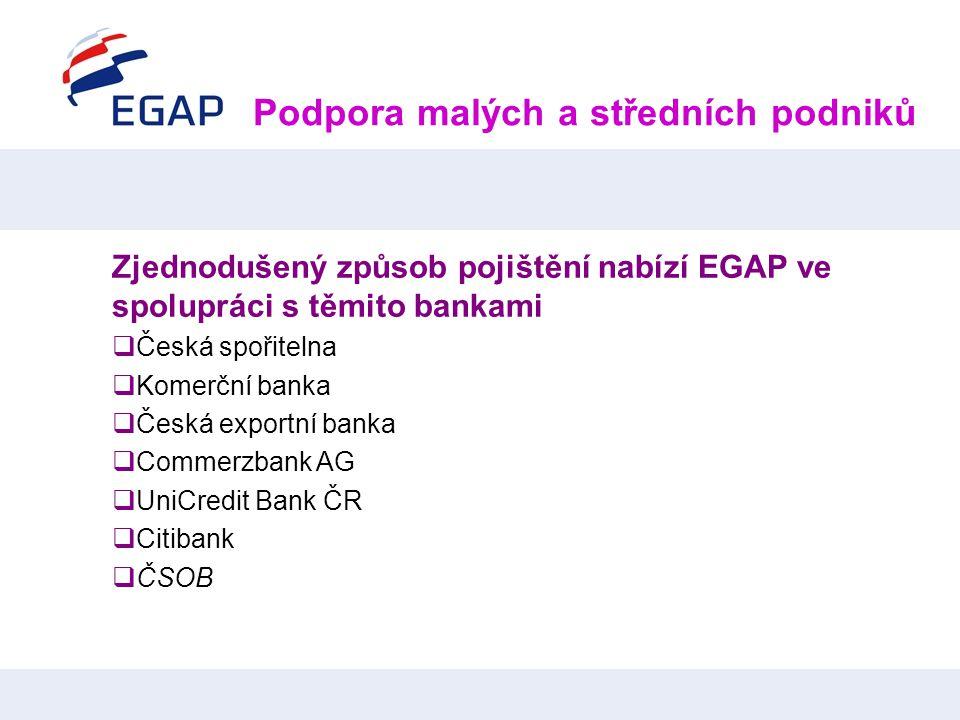 Podpora malých a středních podniků Zjednodušený způsob pojištění nabízí EGAP ve spolupráci s těmito bankami  Česká spořitelna  Komerční banka  Česk