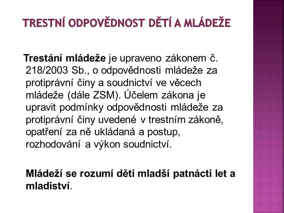 Trestání mládeže je upraveno zákonem č.