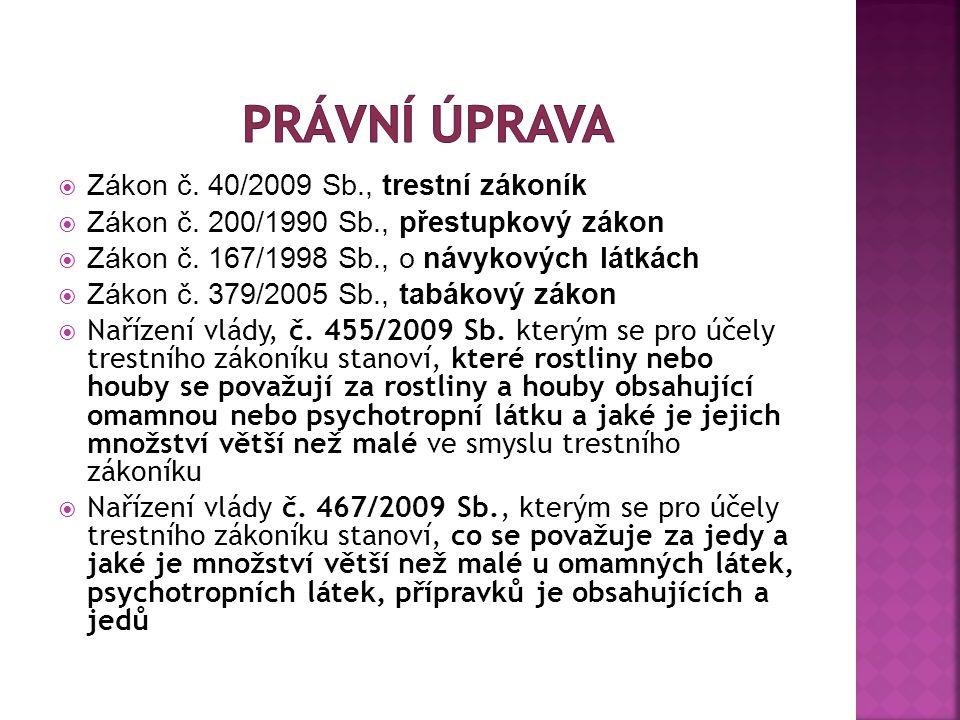  Zákon č.40/2009 Sb., trestní zákoník  Zákon č.