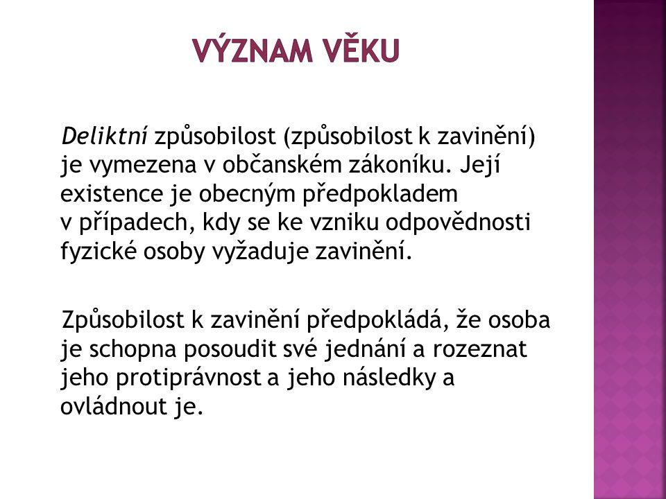 Deliktní způsobilost (způsobilost k zavinění) je vymezena v občanském zákoníku.