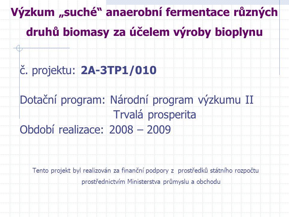 """Výzkum """"suché"""" anaerobní fermentace různých druhů biomasy za účelem výroby bioplynu č. projektu: 2A-3TP1/010 Dotační program: Národní program výzkumu"""