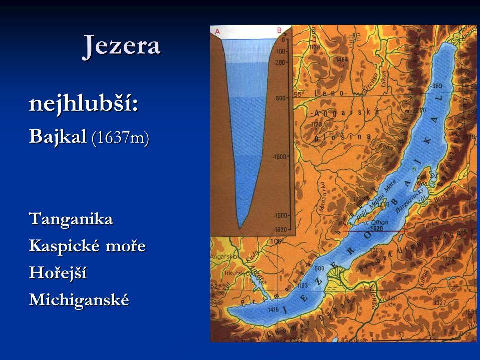 Jezera nejhlubší: Bajkal (1637m) Tanganika Kaspické moře HořejšíMichiganské