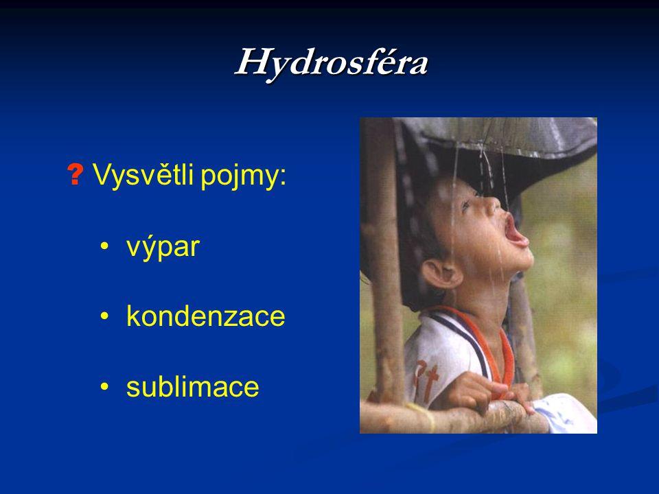 Hydrosféra ? Vysvětli pojmy: • výpar • kondenzace • sublimace