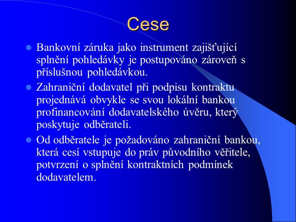 Cese  Bankovní záruka jako instrument zajišťující splnění pohledávky je postupováno zároveň s příslušnou pohledávkou.