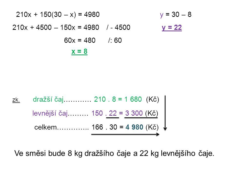 210x + 150(30 – x) = 4980 210x + 4500 – 150x = 4980/ - 4500 60x = 480/: 60 x = 8 y = 30 – 8 y = 22 zk. dražší čaj………… 210. 8 = 1 680 (Kč) levnější čaj