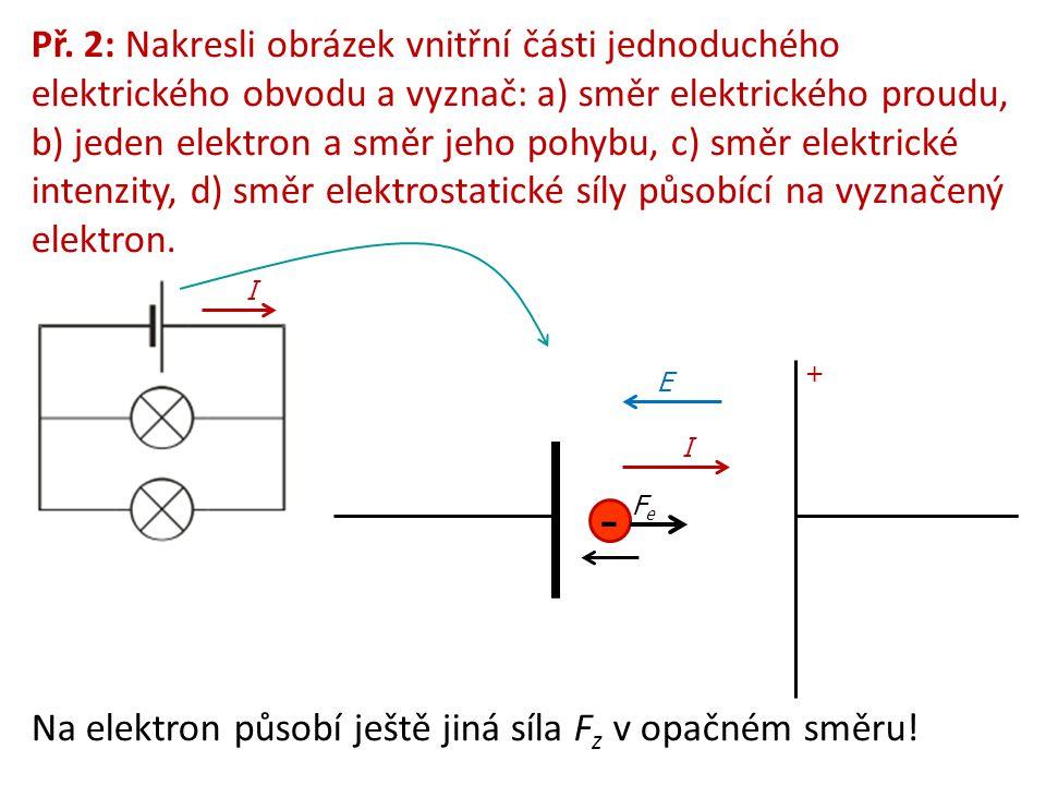 Př. 2: Nakresli obrázek vnitřní části jednoduchého elektrického obvodu a vyznač: a) směr elektrického proudu, b) jeden elektron a směr jeho pohybu, c)