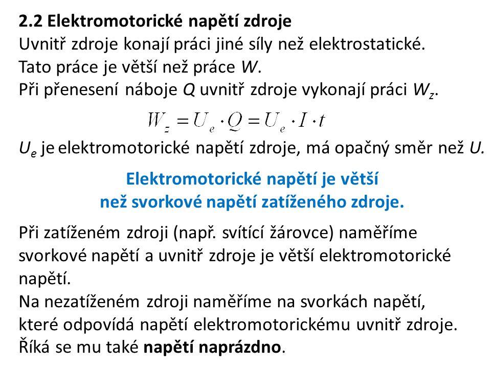2.2 Elektromotorické napětí zdroje Uvnitř zdroje konají práci jiné síly než elektrostatické. Tato práce je větší než práce W. Při přenesení náboje Q u