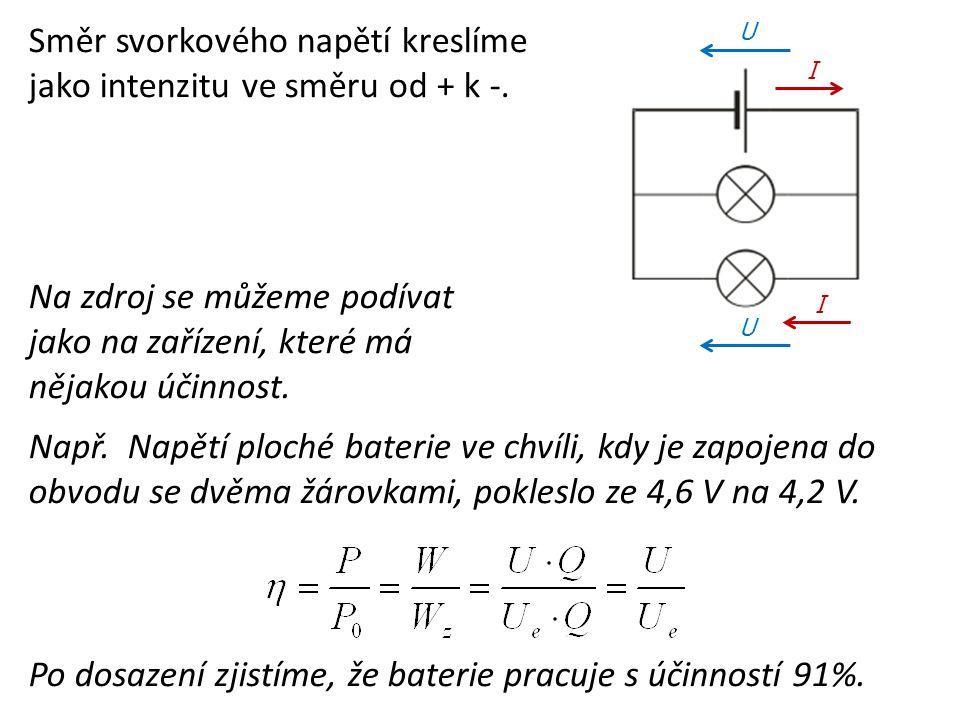 Směr svorkového napětí kreslíme jako intenzitu ve směru od + k -. Na zdroj se můžeme podívat jako na zařízení, které má nějakou účinnost. Např. Napětí