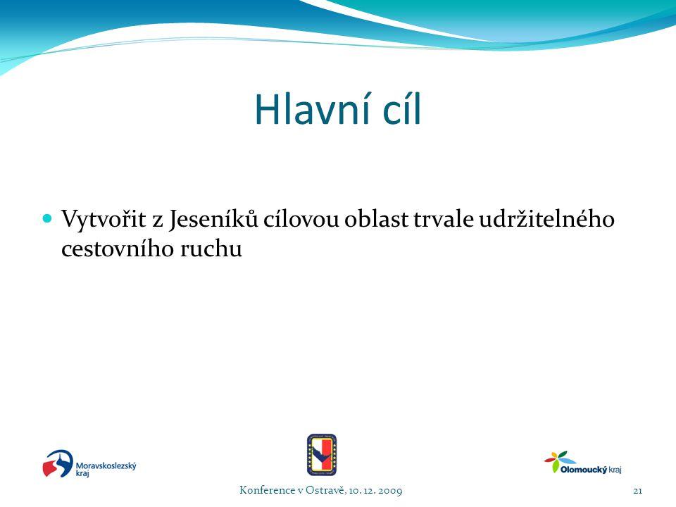 Hlavní cíl  Vytvořit z Jeseníků cílovou oblast trvale udržitelného cestovního ruchu Konference v Ostravě, 10.