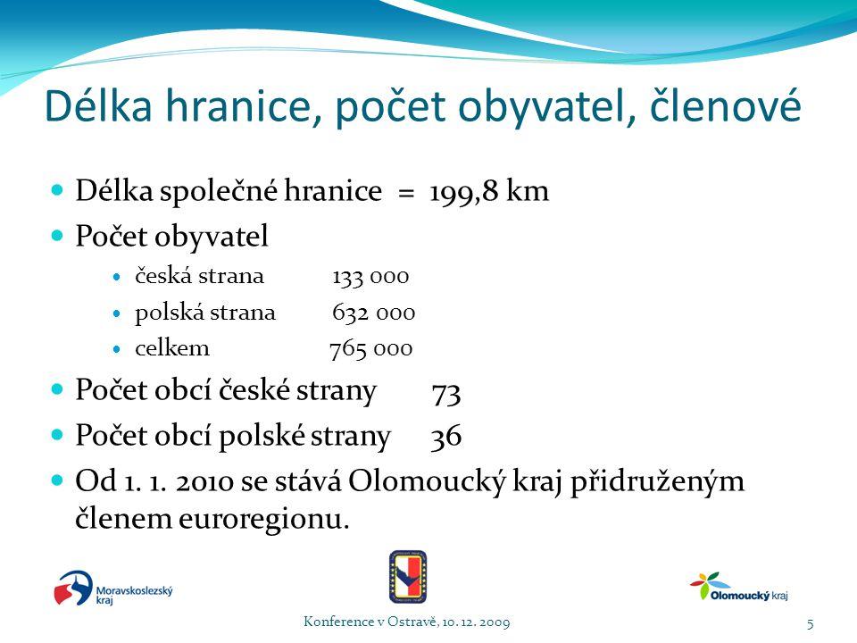 Délka hranice, počet obyvatel, členové  Délka společné hranice = 199,8 km  Počet obyvatel  česká strana 133 000  polská strana 632 000  celkem 765 000  Počet obcí české strany 73  Počet obcí polské strany 36  Od 1.
