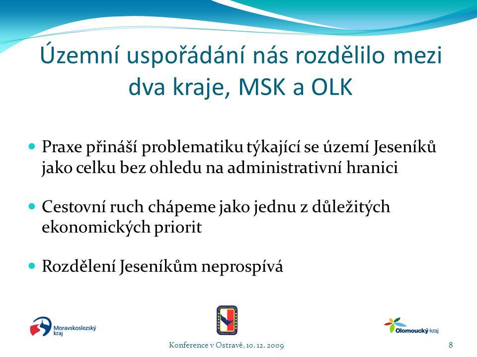 Územní uspořádání nás rozdělilo mezi dva kraje, MSK a OLK  Praxe přináší problematiku týkající se území Jeseníků jako celku bez ohledu na administrativní hranici  Cestovní ruch chápeme jako jednu z důležitých ekonomických priorit  Rozdělení Jeseníkům neprospívá Konference v Ostravě, 10.