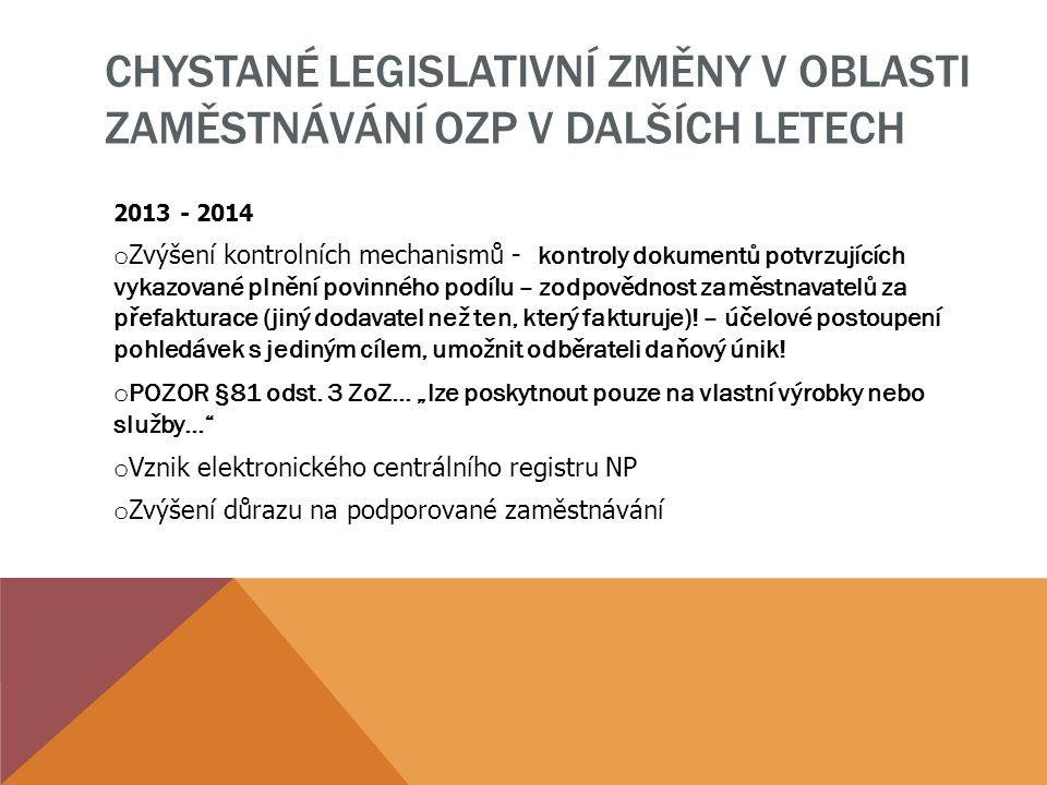 CHYSTANÉ LEGISLATIVNÍ ZMĚNY V OBLASTI ZAMĚSTNÁVÁNÍ OZP V DALŠÍCH LETECH 2013 - 2014 o Zvýšení kontrolních mechanismů - kontroly dokumentů potvrzujícíc
