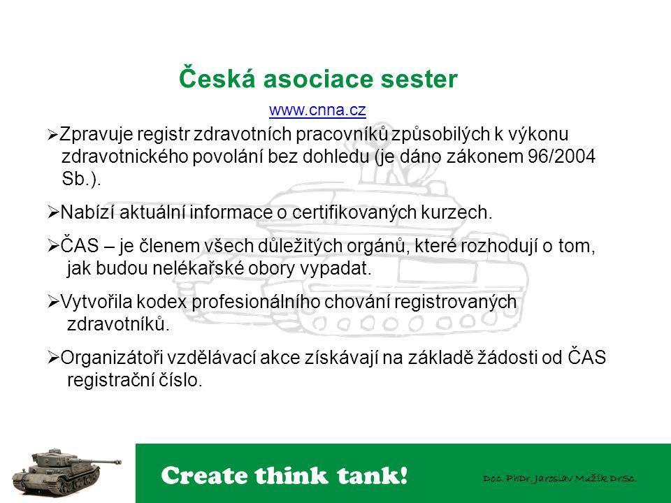 Create think tank! Doc. PhDr. Jaroslav Mužík DrSc. Česká asociace sester www.cnna.cz www.cnna.cz  Zpravuje registr zdravotních pracovníků způsobilých