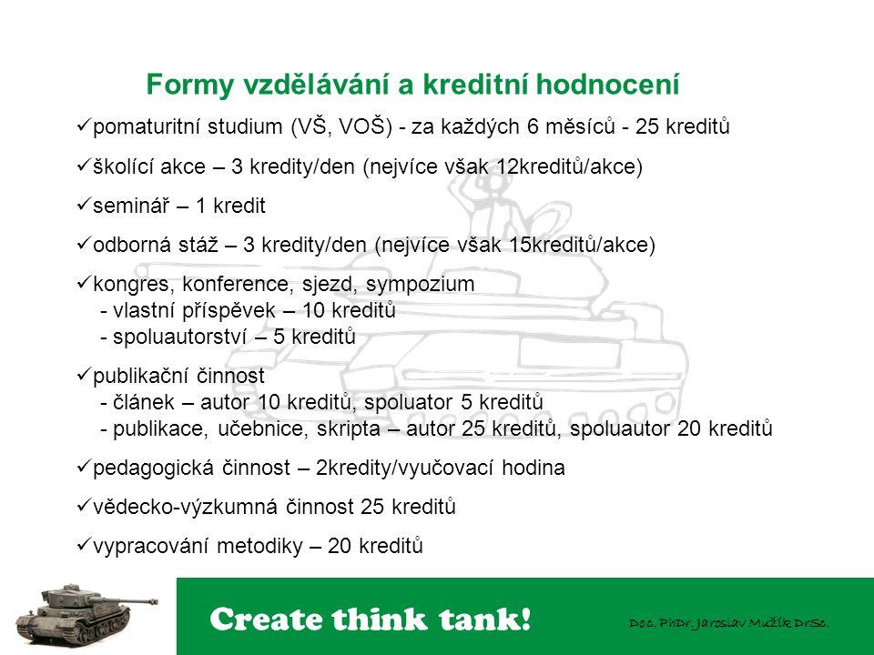 Create think tank! Doc. PhDr. Jaroslav Mužík DrSc.  pomaturitní studium (VŠ, VOŠ) - za každých 6 měsíců - 25 kreditů  školící akce – 3 kredity/den (