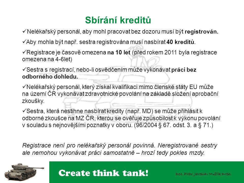 Create think tank! Doc. PhDr. Jaroslav Mužík DrSc. Sbírání kreditů  Nelékařský personál, aby mohl pracovat bez dozoru musí být registrován.  Aby moh