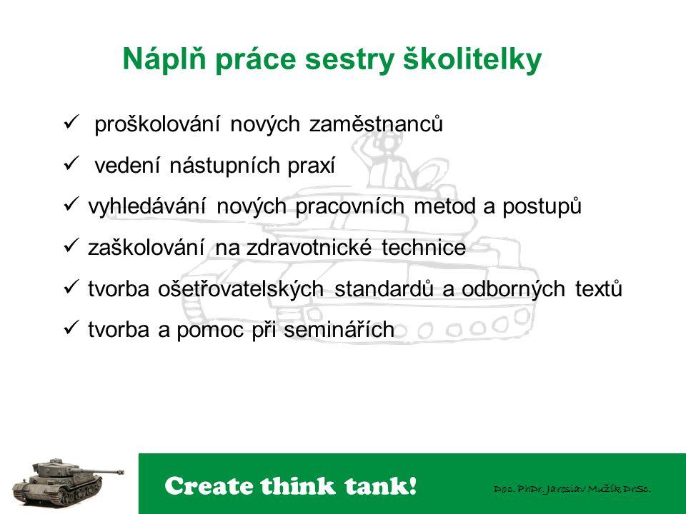Create think tank! Doc. PhDr. Jaroslav Mužík DrSc. Náplň práce sestry školitelky  proškolování nových zaměstnanců  vedení nástupních praxí  vyhledá