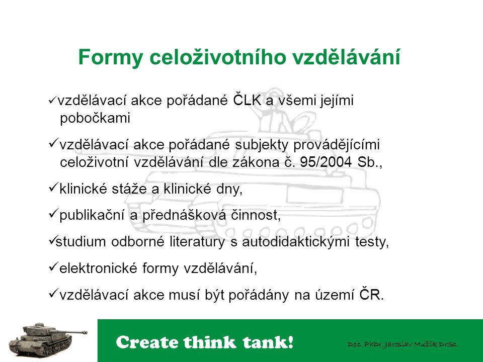 Create think tank! Doc. PhDr. Jaroslav Mužík DrSc. Formy celoživotního vzdělávání  vzdělávací akce pořádané ČLK a všemi jejími pobočkami  vzdělávací