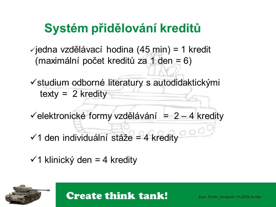 Create think tank! Doc. PhDr. Jaroslav Mužík DrSc. Systém přidělování kreditů  jedna vzdělávací hodina (45 min) = 1 kredit (maximální počet kreditů z