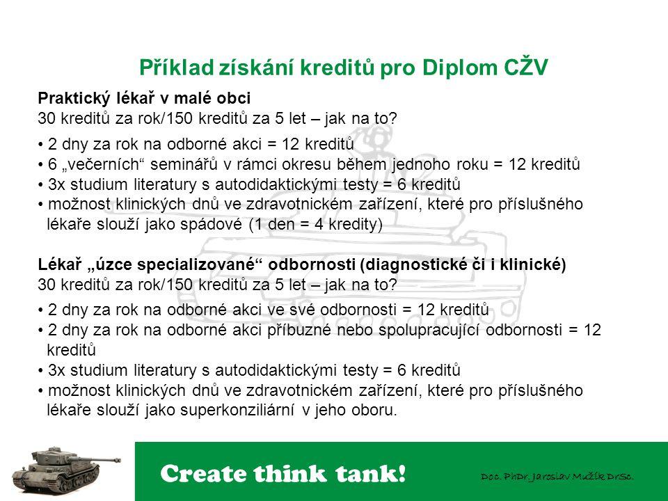 Create think tank! Doc. PhDr. Jaroslav Mužík DrSc. Příklad získání kreditů pro Diplom CŽV Praktický lékař v malé obci 30 kreditů za rok/150 kreditů za