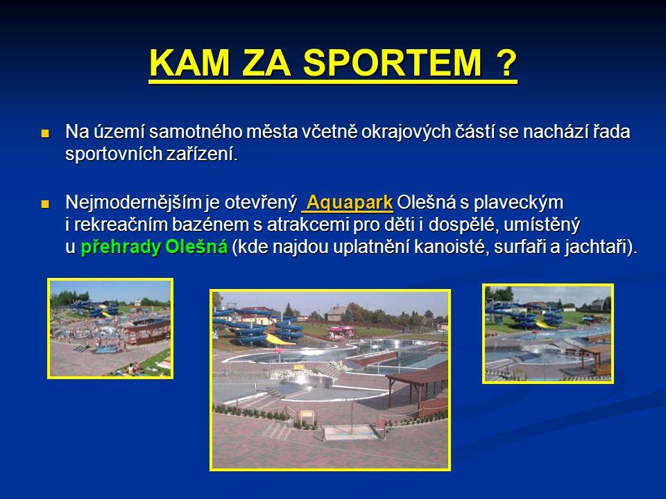 KAM ZA SPORTEM ?  Na území samotného města včetně okrajových částí se nachází řada sportovních zařízení.  Nejmodernějším je otevřený Aquapark Olešná
