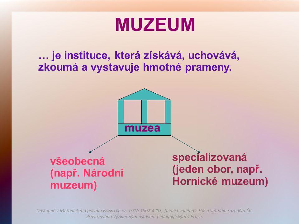 MUZEUM … je instituce, která získává, uchovává, zkoumá a vystavuje hmotné prameny. všeobecná (např. Národní muzeum) specializovaná (jeden obor, např.