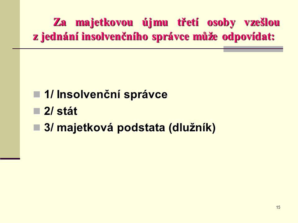 15 Za majetkovou újmu třetí osoby vzešlou z jednání insolvenčního správce může odpovídat:  1/ Insolvenční správce  2/ stát  3/ majetková podstata (