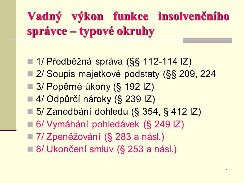 16 Vadný výkon funkce insolvenčního správce – typové okruhy  1/ Předběžná správa (§§ 112-114 IZ)  2/ Soupis majetkové podstaty (§§ 209, 224  3/ Pop