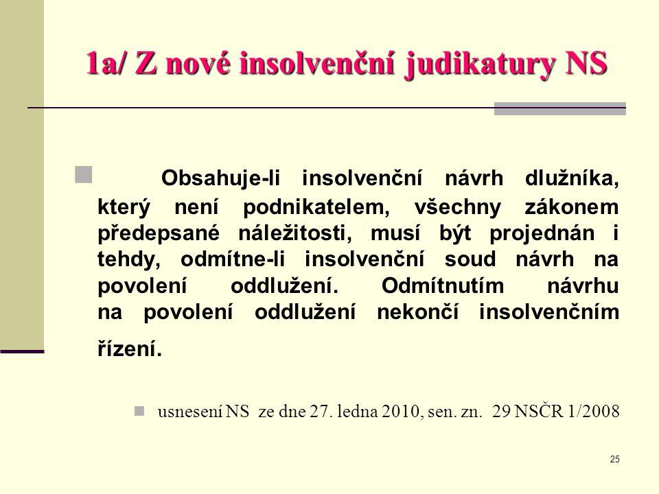25 1a/ Z nové insolvenční judikatury NS  Obsahuje-li insolvenční návrh dlužníka, který není podnikatelem, všechny zákonem předepsané náležitosti, mus
