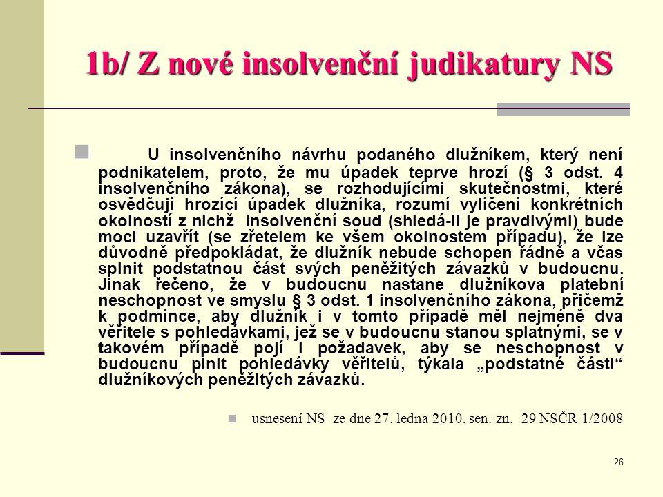 26 1b/ Z nové insolvenční judikatury NS  U insolvenčního návrhu podaného dlužníkem, který není podnikatelem, proto, že mu úpadek teprve hrozí (§ 3 od