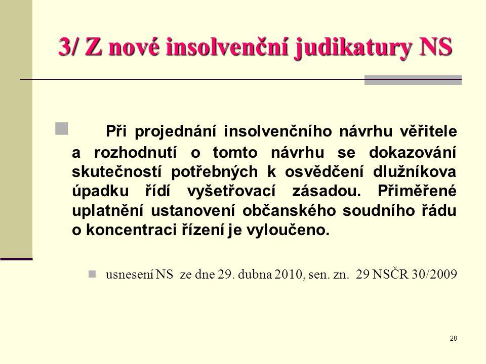 28 3/ Z nové insolvenční judikatury NS  Při projednání insolvenčního návrhu věřitele a rozhodnutí o tomto návrhu se dokazování skutečností potřebných