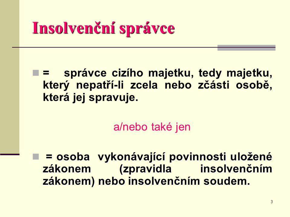 3 Insolvenční správce  = správce cizího majetku, tedy majetku, který nepatří-li zcela nebo zčásti osobě, která jej spravuje. a/nebo také jen = osoba