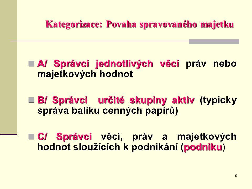 9 Kategorizace: Povaha spravovaného majetku  A/ Správci jednotlivých věcí práv nebo majetkových hodnot  B/ Správci určité skupiny aktiv (typicky spr